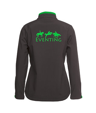 Charcoal with green accents and eventing horse image ladies softshell jacket back view