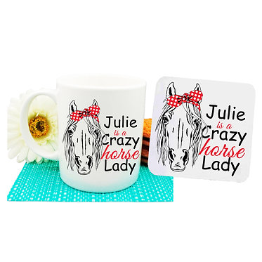 Personalised ceramic coffee mug and coaster set crazy horse lady front view