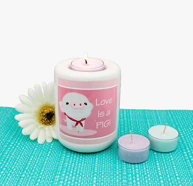Ceramic tealight candle holder cute pig image with i love pigs! text front view