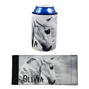 Personalised neoprene stubby cooler black and white horse image front and flat view