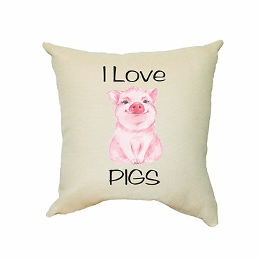 Tan cushion cover with zip and i love pigs image front view