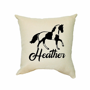Personalised tan cushion with zip paint horse image front view