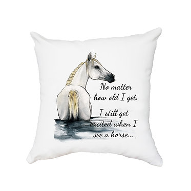 White cushion cover with zip white horse in water with quote image front view