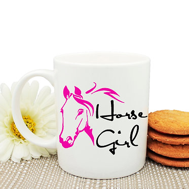 Horse girl coffee mug pink image front view
