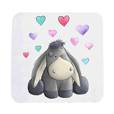 Neoprene drink coaster with donkey with hearts image front view