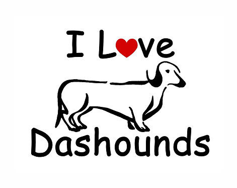 I love dashounds decal sticker in black front view