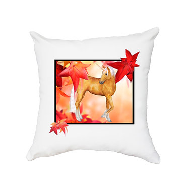 White cushion cover with zip unicorn in autumn leaves image front view