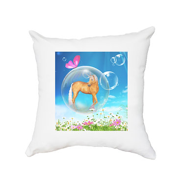 White cushion cover with zip fantasy unicorn in bubble image front view