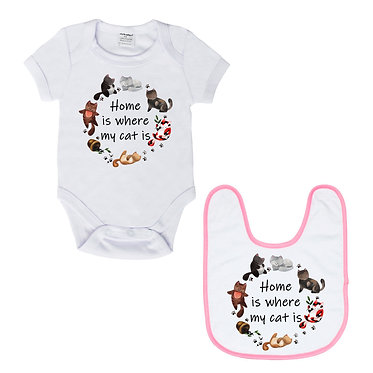 Baby romper play suit white with pink trim cats home is where my cat is image front view