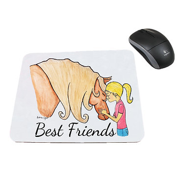 Neoprene computer mouse pad best friends girl and horse image front view