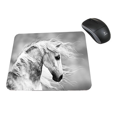 Neoprene computer mouse pad beautiful white horse image front view