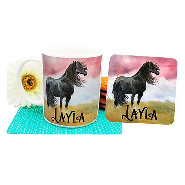 Personalised ceramic coffee mug and coaster set black horse front view