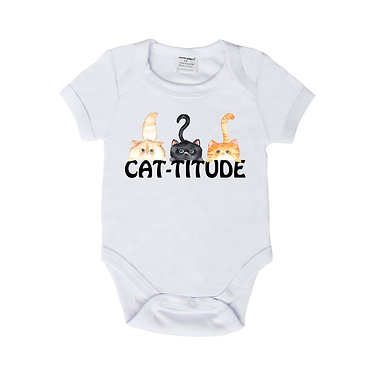 Baby romper play suit white with cute cats and cat-titude image front view