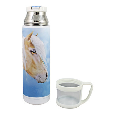 Thermos flask drink travel bottle 500ml stainless steel with cup off palomino horse image front view