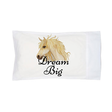 Pillowcase white dream big horse image front right view