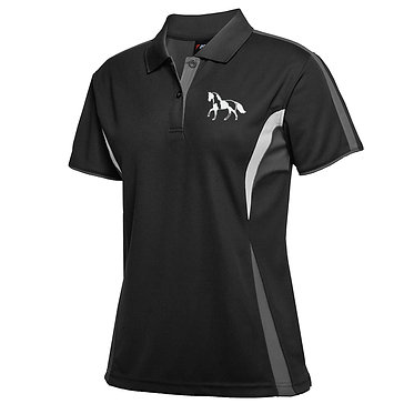 Ladies cool polo shirt black white paint horse on scroll image front view