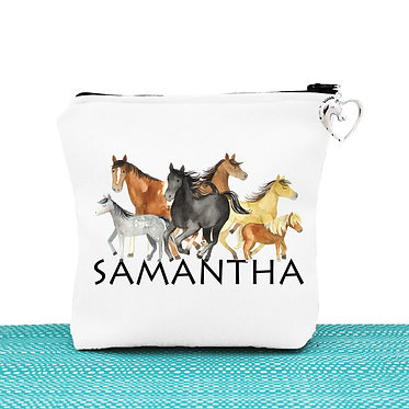 White cosmetic toiletry bag with zipper personalised group of horses image front view