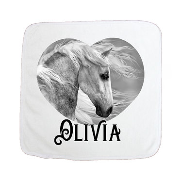 Personalised face washer black and white horse image front view
