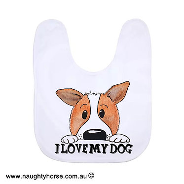 "Babies bib white with cute dog and quote ""'I love my dog"" image front view"