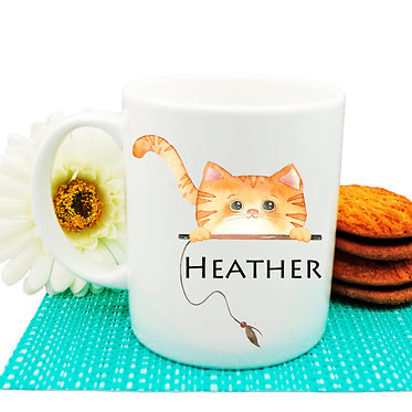 Ceramic coffee mug personalized ginger cat name image front view