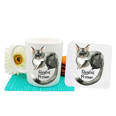 Ceramic coffee mug and drink coaster set Australian Ringtail Possum image front view