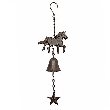 Cast iron horse front door bell with star front view