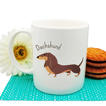 Dog themed coffee mug with dachshund dog image front view