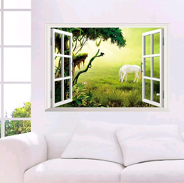 Horse wall art sticker decal horse in medow front view mounted on wall