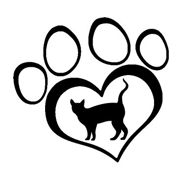 Cat vinyl decal sticker cat in paw print front view