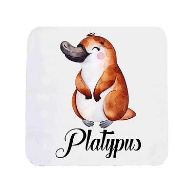 Neoprene drink coaster Australian cute Platypus image front view