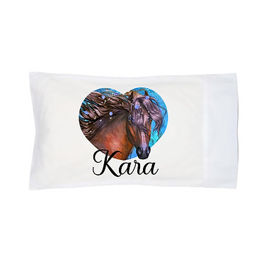 Personalised horse pillow case fantasy horse image front right facing view