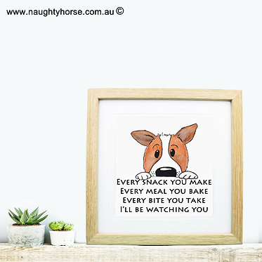 "Wood picture frame square cute dog image with quote ""every snack you take"" front view"