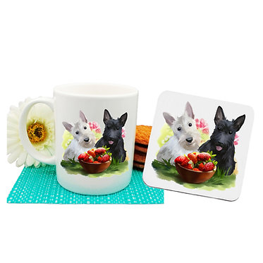 Dog themed coffee mug and coaster set with two scottie dogs front view