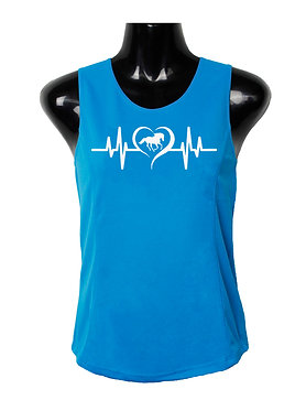 Aqua with white image cantering horse in heart beat ladies singlet top front view