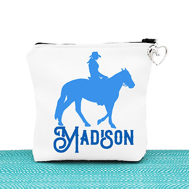 White cosmetic toiletry bag with zipper personalised western horse rider blue image front view