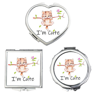 Compact mirrors round, square, heart shapes with cute kitty hanging on branch image front view