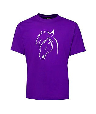 Adults t-shirt purple horse head image front view