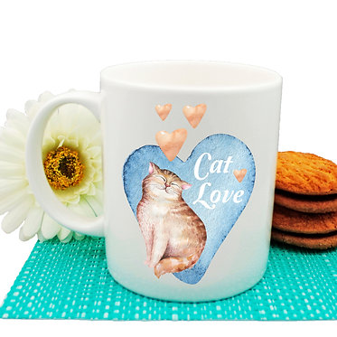 Ceramic coffee mug cat love with hearts image front view