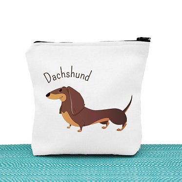 White cosmetic toiletry bag with zip dachshund dog image front view
