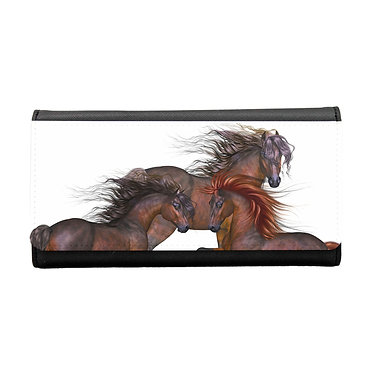 Ladies/girls purse wallet three beautiful horses image front view
