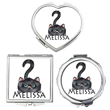Compact mirrors three shapes round, square, heart personalized with name and cute black cat image front view