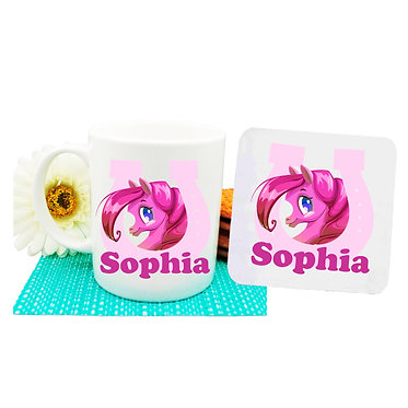 Personalised coffee mug and coaster set cute pony in horseshoe hot pink image front view