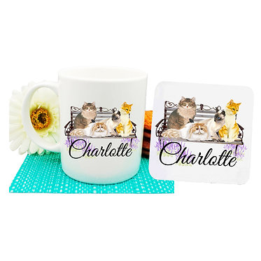 Ceramic coffee mug and drink coaster set personalized cats on bench image front view