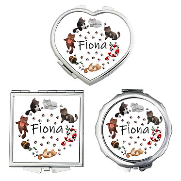 Compact mirrors three shapes round, square, heart personalized with name and cute cats image front view