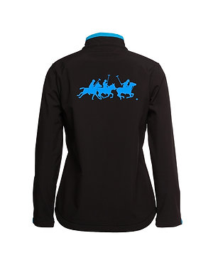 Black with aqua accents and polo players image softshell jacket back view