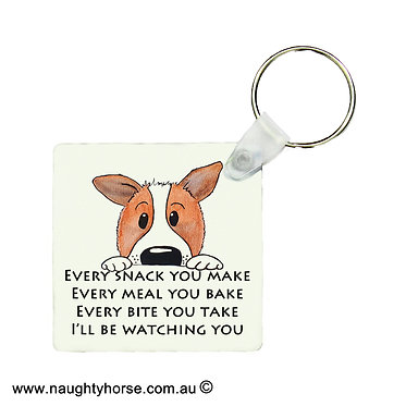 """Square wood key ring cute dog image with quote """"every snack you make"""" front view"""