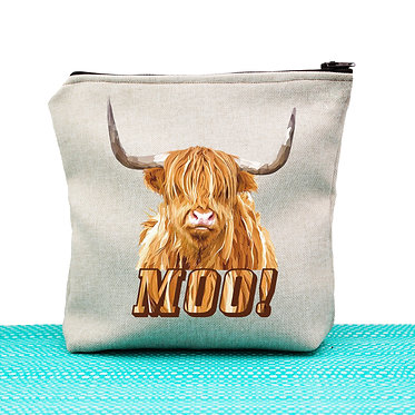 Tan cosmetic toiletry bag with zip and highland cow image and text moo! front view