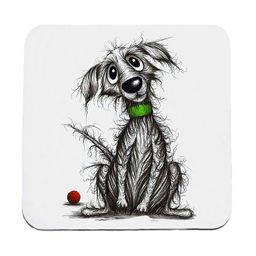 Dog themed neoprene coaster sets with beautiful scruffy dog image front view
