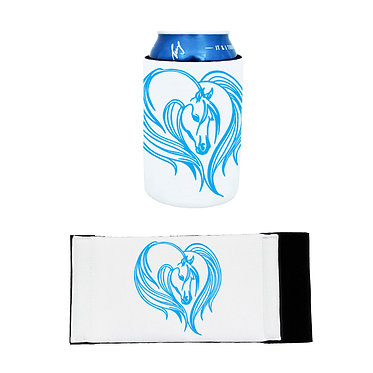 Neoprene stubby cooler with majestic horse blue image front and flat view