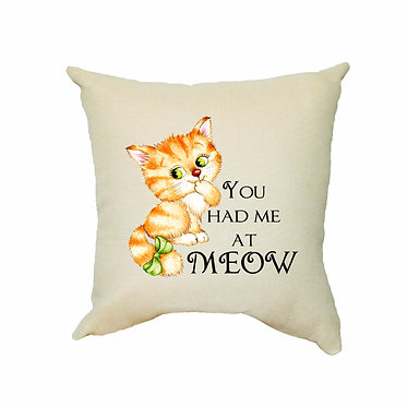 Tan cushion cover with zip 40cm x 40cm cute kitty you had me at meow image front view